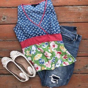 Boden Blue Floral Sleeveless shirt tank top